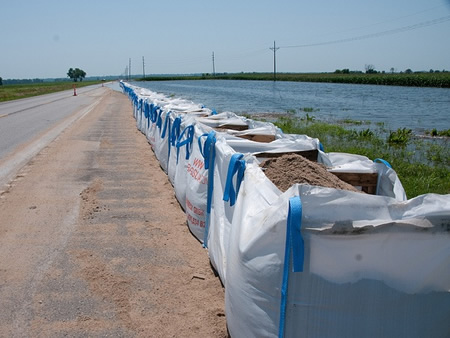 Flood barrier system protecting highway